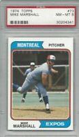 1974 Topps baseball card #73 Mike Marshall Los Angeles Dodgers graded PSA 8