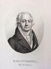 Le comte Chaptal (Jean-Antoine) gravé par  Boilly 1821 botanique polytechnique