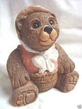Adorable UDC 1984 Stone Critters MS TEDDY BEAR in Bonnet #141 - Retired