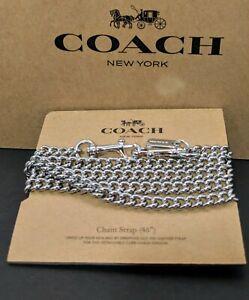 "COACH Shoulder Crossbody Chain Strap 46"" Metal Silver Tone F31126 New"