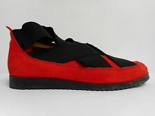 Gorgeous red suede leather shoes by Arche with black latticed elastic 40 UK7