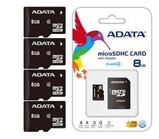 Lot of 4 Adata microSD SD HC 8GB 8 GB 8G Class 4 TF Flash MEMORY Card WHOLESALE