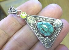 Superb Mid Sized Sterling Silver Turquoise Matrix and Peridot Pendant