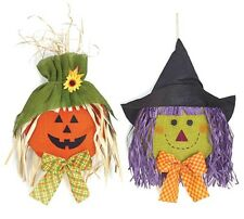 Pumpkin and Witch Head Burlap Wall Hanging Set