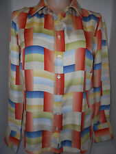 Robert Graham Womens Long Sleeve Silk Shirt Blouse M Medium Green Blue Yellow