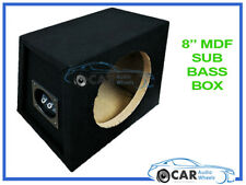 "8"" Sub Subwoofer Enclosure Bass Box MDF Black Carpet Boom Car Van Home Quality"