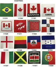 Pack 12 Mixed Countries Flags 100% Cotton American Bandanas Bulk Wholesale USA