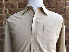 Cutter & Buck Men's Long Sleeve Button Front Tan & White Check Casual Size XXL
