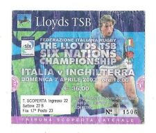 2002 - Italy v England, Six Nations Match Ticket.