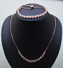 QVC STERLING SILVER ROSE GOLD CZ FRIENDSHIP TENNIS BRACELET & MATCHING NECKLACE