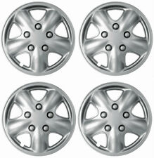 """15"""" Inch Wheel Covers Set - Universal Car Silver Hubcaps w/Chrome Bolt Nuts"""