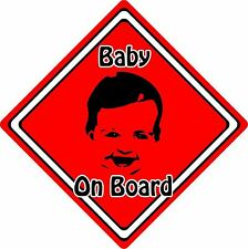 Baby/Child On Board Car Sign ~ Baby Face Silhouette ~ Neon Red