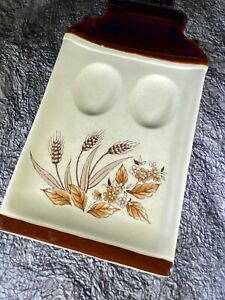 Vintage Ceramic Double Spoon Rest Wheat & Flowers Motif Ivory & Brown