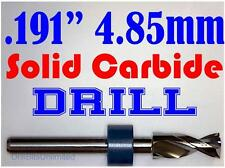 ".191"" 4.85mm  -Solid Carbide Drill Bit - 1/8"" Shank -Sharp! CNC Hobby Model -lu"
