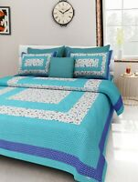 Attractive Floral Print Cotton Double Bed Sheet & Duvet Cover 4 Pillow Covers rw
