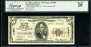 1929 $5 Valley Stream Natl Bank Note Fr. 1800-2 Ty. 2 Ch #11881 VF20 #A000027