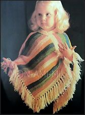 Vintage Crochet Pattern • Childrens Girls Kids • Striped Fringed Poncho Top