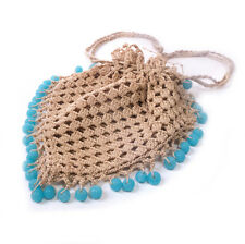 Victorian Women's Small Heart Shaped Crocheted Straw Style Hand Bag Purse 5.75""