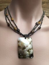 Vintage Tribal Beaded Necklace With Large Square MOP Shell Pendant Boho J060