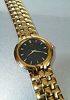 Vintage SEIKO Watch Gold-Tone Quartz Japan Mens 7N00-F060  Black Dial