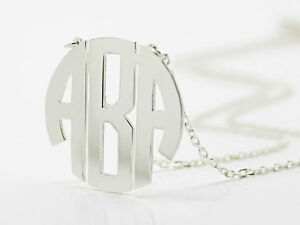 Circle Block Monogram,Name Necklace,Personalised Handmade 925Silver Necklace 1''