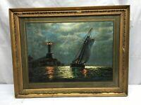 Vtg  Deco 1930s Nautical Fishing Boat  Light House  Print in Frame Ocean Nights