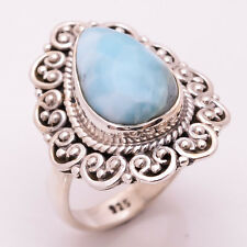 925 Sterling Silver Ring Size US 6.5, Natural Larimar Handcrafted Jewelry CR2701
