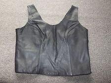 BERMAN'S Black Leather & Lace Sleeveless Tank Top L Large