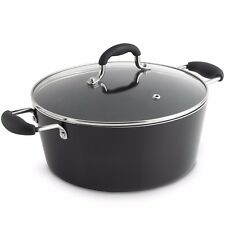 VonShef 3.8L Non-Stick Black Aluminium Stock Pot Stewing Pot w/ Glass Lid