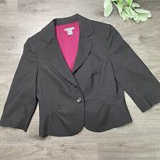 Ann Taylor Petites Stretch Black 10P Jacket Blazer Virgin wool spandex