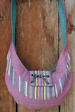 Guatemalan Fair Trade Hand Woven Loomed Cotton Hobo Hand Bag Purse Striped