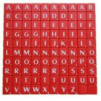 100 X RED PLASTIC TILES WHITE LETTERS FOR ART & CRAFTS KIDS SCRAPBOOK UK