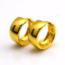24k Yellow Gold Filled Earrings 16MM Smooth Hoop Huggie Charm GF Wedding Jewelry