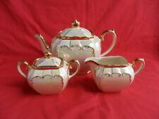 Sadler, Cream Lustre/Mother of Pearl, 3 Piece Cube Teapot Set