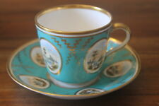 OLD Royal Crown Derby Tea Cup Teacup Saucer King St Turquoise Hand painted Gold
