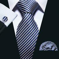USA Barry Wang Mens Tie Ties Blue Stripe Necktie Classic Set Silk Woven Necktie