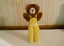 Vintage plush stuffed Teddy Bear yellow corduroy overalls long legs Yuli corp