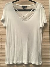 PRIMARK WHITE SHEER V NECK T SHIRT CROSS OVER SIZE 10