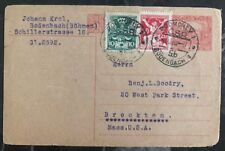 1920 Bodenbach Czechoslovakia Postal Statione Postcard Cover To Brockton MA USA