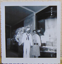 Vtg Photo of Young Navy Man Posing w/Mother w/Ghost Double Exposure Images G44