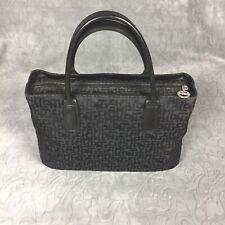 Longchamp Paris Black Signature Pattern Women's Medium Size Handbag RARE