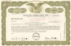 Cullum Companies > Dallas Texas ABNC specimen stock certificate