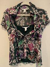 Diane Von Furstenberg DVF Gilmore Blouse Top 100% Silk Green Floral Sz 6 Layered