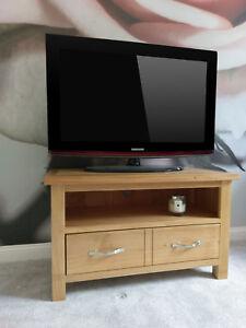 Light Oak Small 2 Drawer TV Unit / Regal Modern Television Stand Media Cabinet