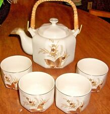 Vintage Japan OTAGIRI CHO-CHO TEAPOT & 4 CUPS, Gold Gild BUTTERFLY Design, Straw