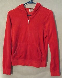 W5117 Juicy Couture Juniors Medium Red Hoodie With Pockets Made in USA