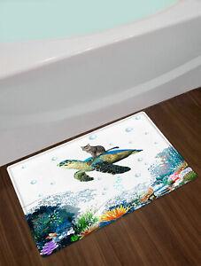 Ocean Waves Funny Cat Sea Turtle Door Mat Bathroom Kitchen Floor Rugs Carpet