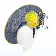 NEW Kentucky DERBY NAVY BLUE & YELLOW Fascinator Headband Tea Party HAT