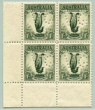 Australien Australia 1932 Lyrebird 1/- Block/4 114 VG Perfin SG 140 MNH OG /305