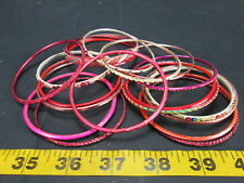 Lot of 20 Assorted Bangle Bracelets Plastic Metal Colorful Round Skum T